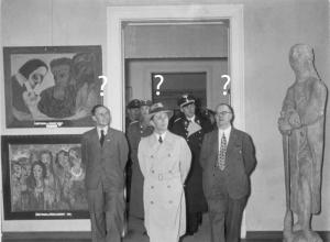Foto: Joseph Goebbels betrakter kunst, redigert av Ane Wadd