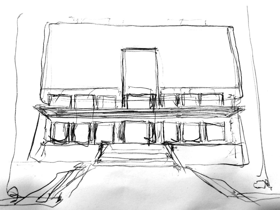 Tegning av Kunstnernes Hus